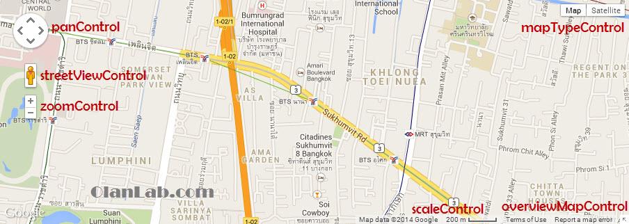 Google Maps - วิธีการปรับแต่งส่วนควบคุมของ Google Maps