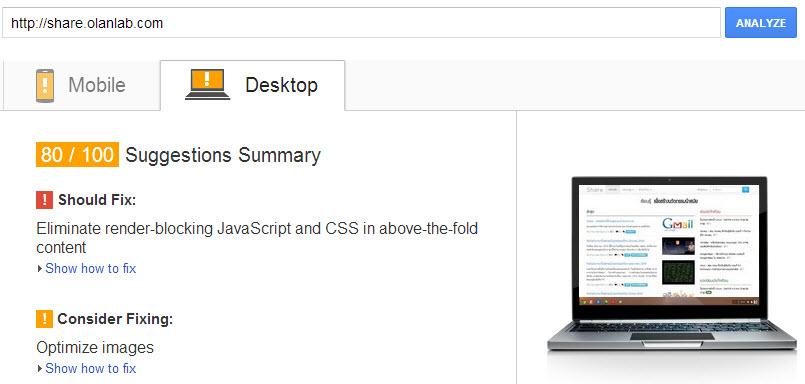 วัดความเร็วเว็บไซต์ (Website Speed Testing) ด้วย Google's PageSpeed Insights
